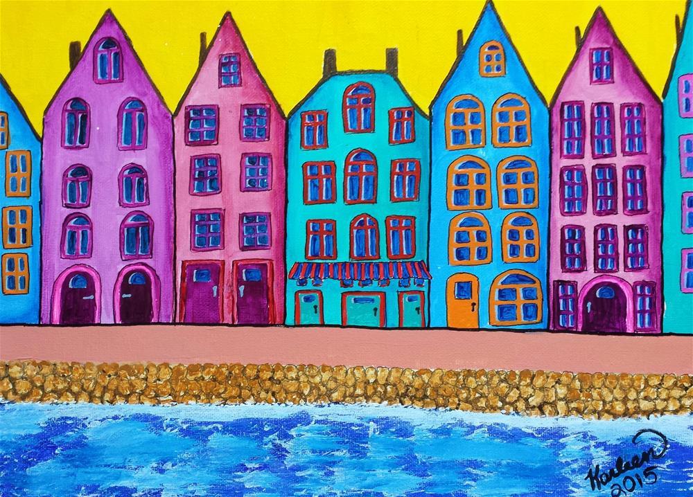 """""""Houses Along the River"""" original fine art by Karleen Kareem"""