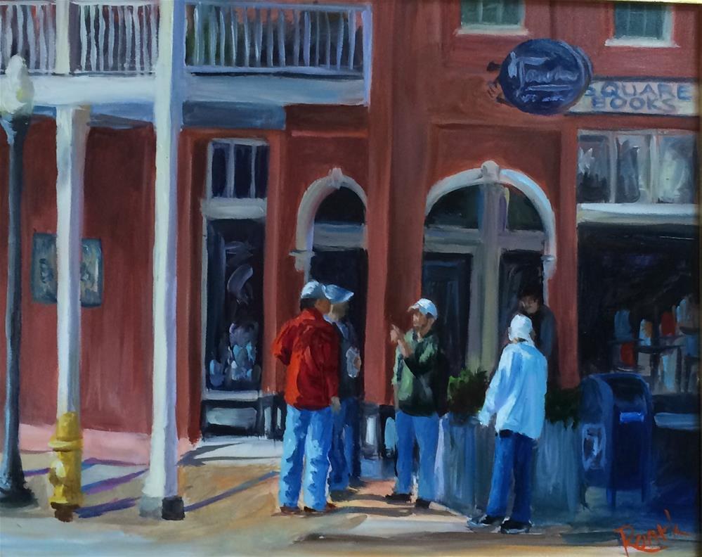 """Corner Conversations"" original fine art by Carol Roark"
