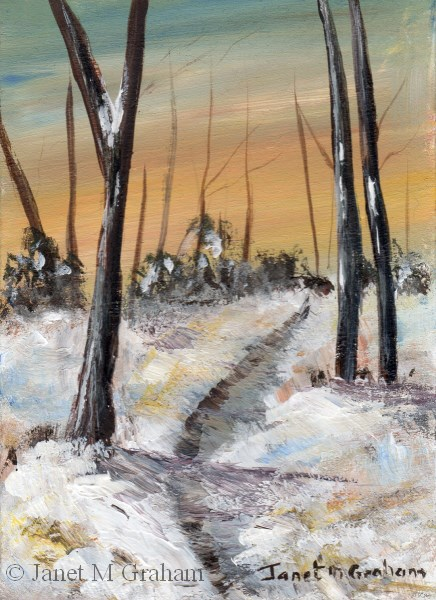 """Winters Day ACEO"" original fine art by Janet Graham"