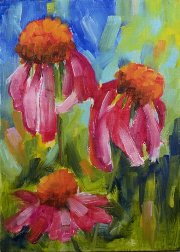 """""""Colorful Coneflowers"""" original fine art by Sue Churchgrant"""