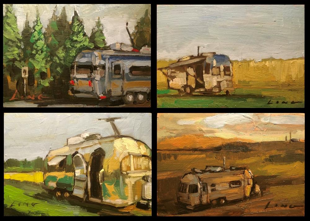 """Airstream Series (4 paintings incl.)"" original fine art by Chris Long"