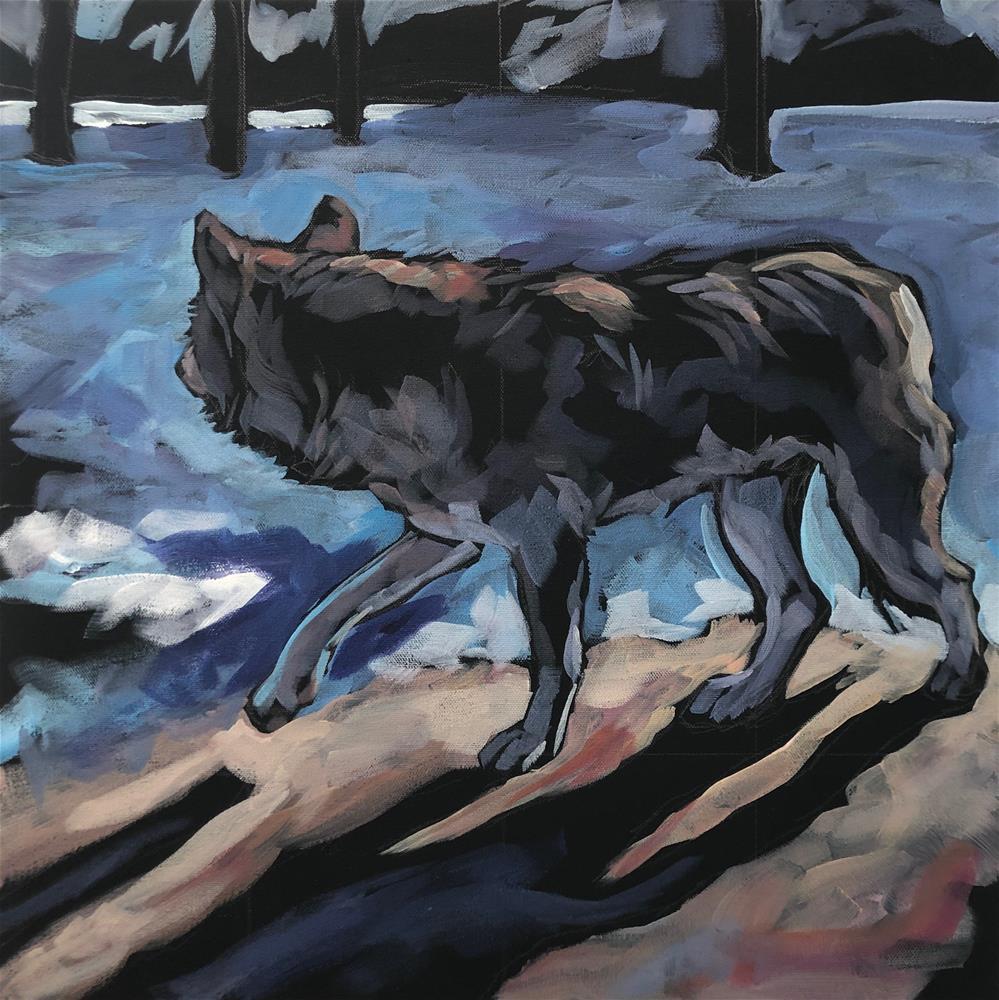 """Wolf Winter Light"" original fine art by Kat Corrigan"