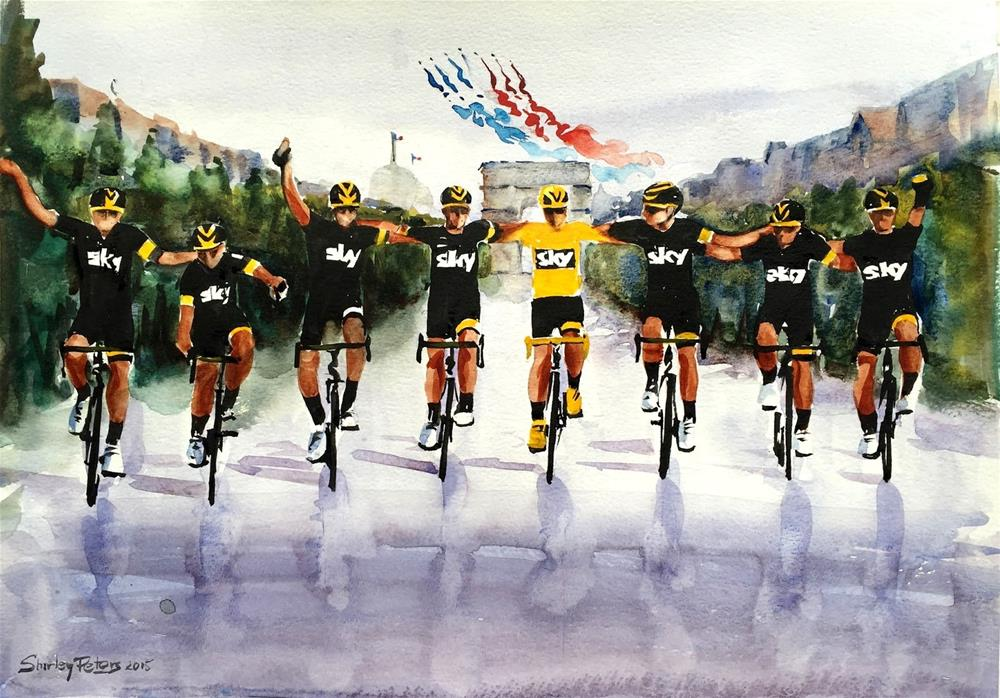 """Victory! Froome and Sky Team Friends"" original fine art by Shirley Peters"