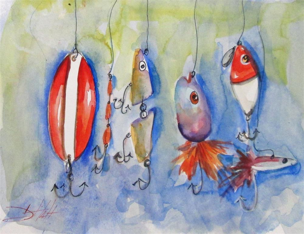 """Fishing Lures"" original fine art by Delilah Smith"