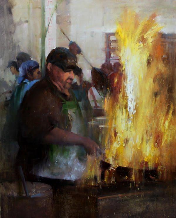 """Cooking for the festival"" original fine art by Fongwei Liu"