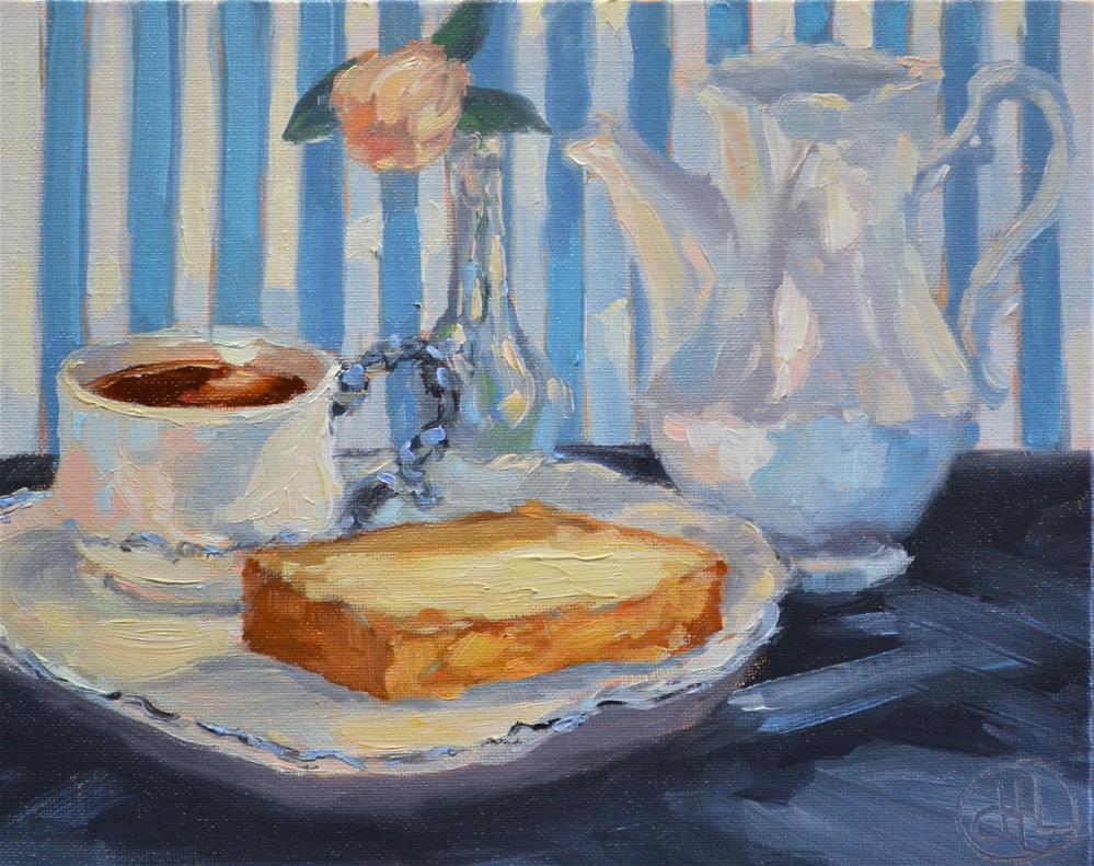 """""""tea and cake"""" original fine art by Dottie  T  Leatherwood"""