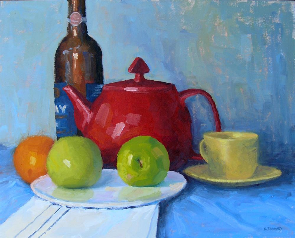 """Granny Smith's Tea Time"" original fine art by Nina Brodsky"