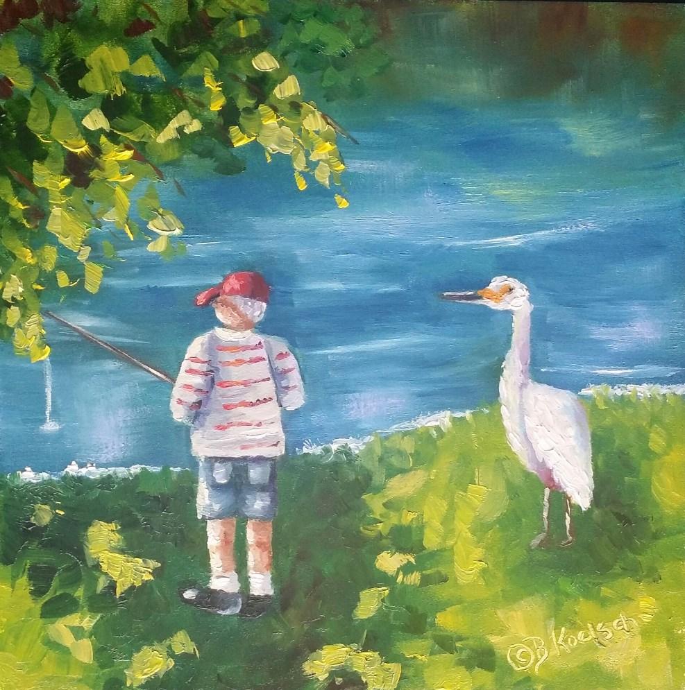 """""""Let Me Show You How"""" original fine art by Bobbie Koelsch"""