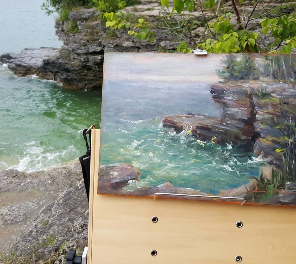 """Cave Point Cove"" original fine art by Tammie Dickerson"