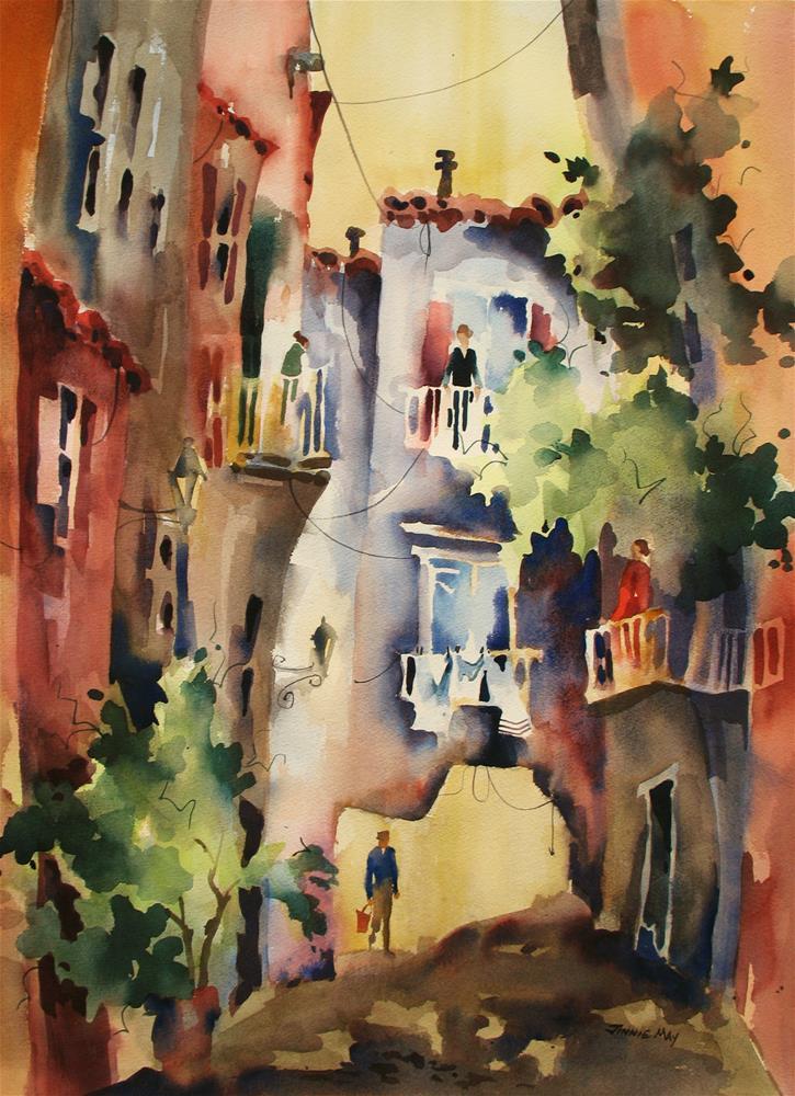 """Amalfi Gossip IV"" original fine art by Jinnie May"