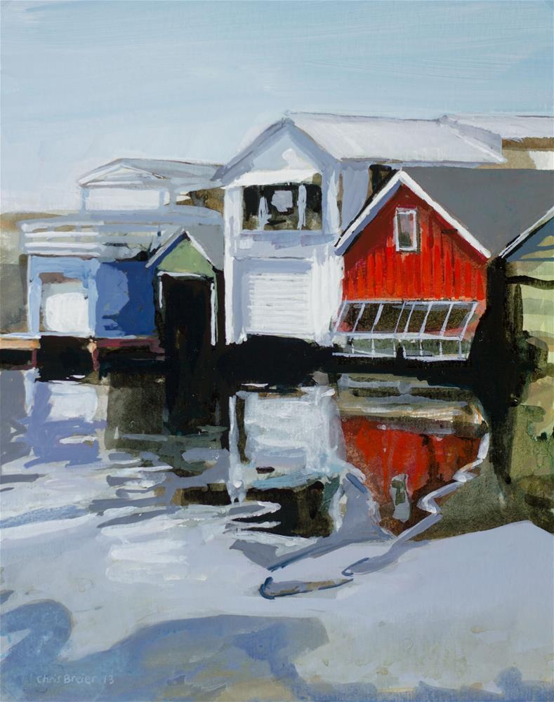 """Boathouses"" original fine art by Chris Breier"