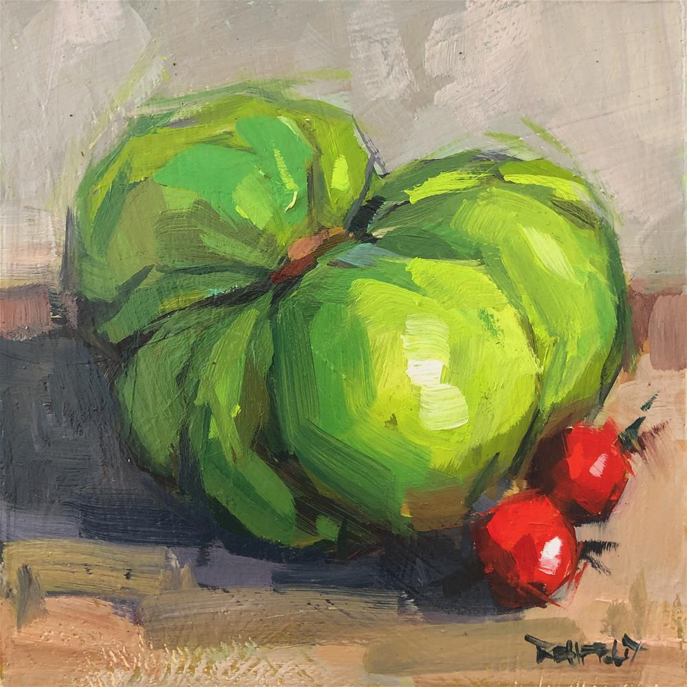 """Heirloom Green Tomato I"" original fine art by Cathleen Rehfeld"