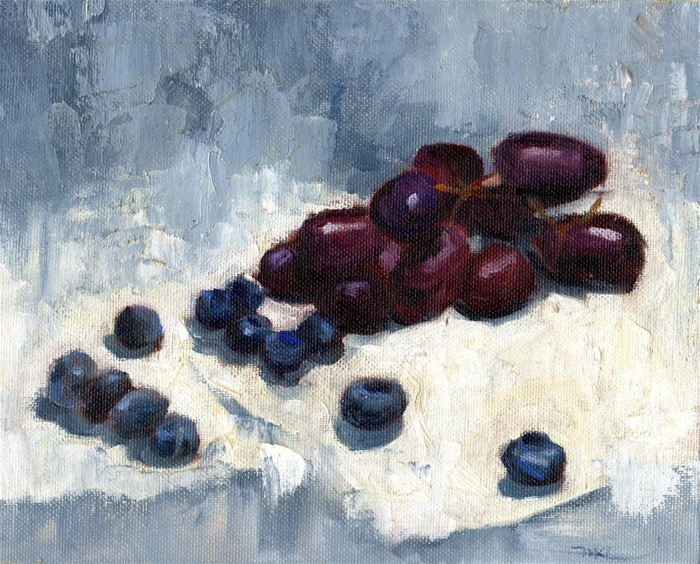 """Blueberries & Grapes"" original fine art by Marlene Lee"