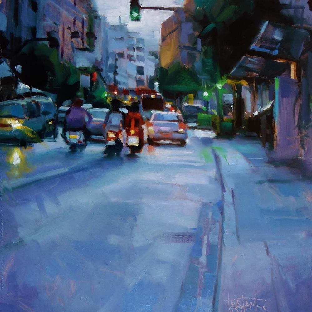 """Afternoon traffic"" original fine art by Víctor Tristante"
