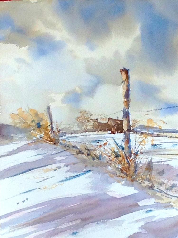 """""""Winter Fenceline"""" original fine art by David Finnell"""