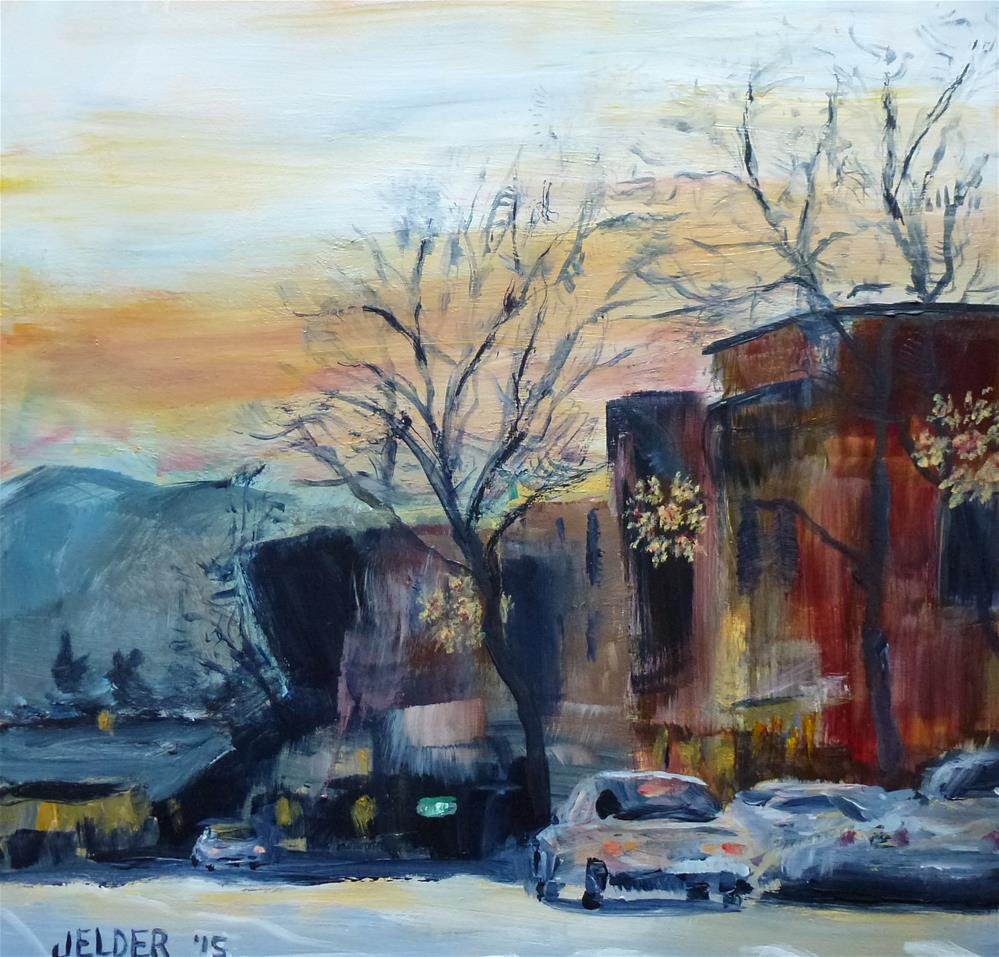 """""""Downtown With Snowflakes"""" original fine art by Judith Elder"""