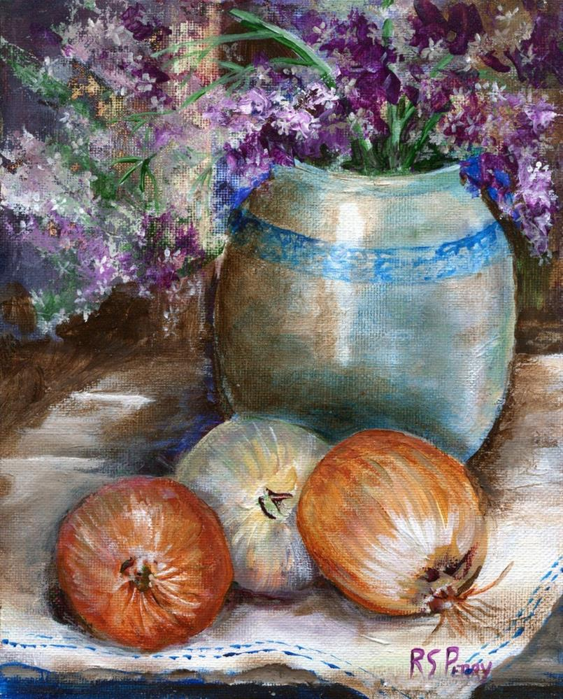 """""""Jar of flowers with onions """" original fine art by R. S. Perry"""