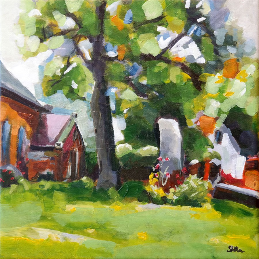 """1059 Nicolai Church Garden"" original fine art by Dietmar Stiller"