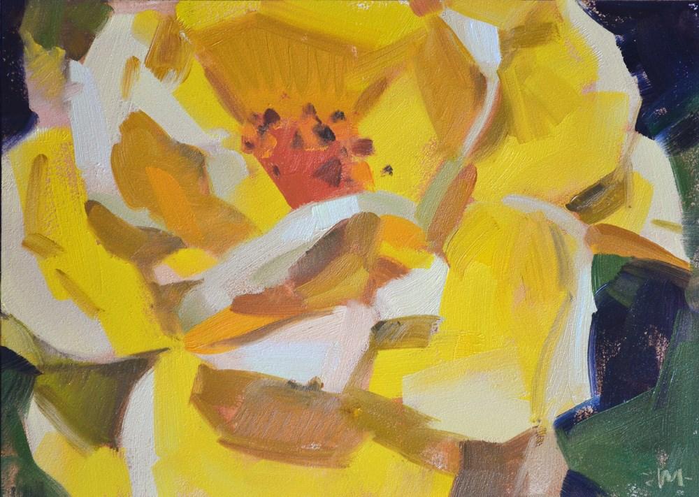 """Lemon Rose"" original fine art by Carol Marine"