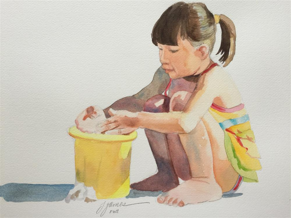 """yellow bucket"" original fine art by Jini James"