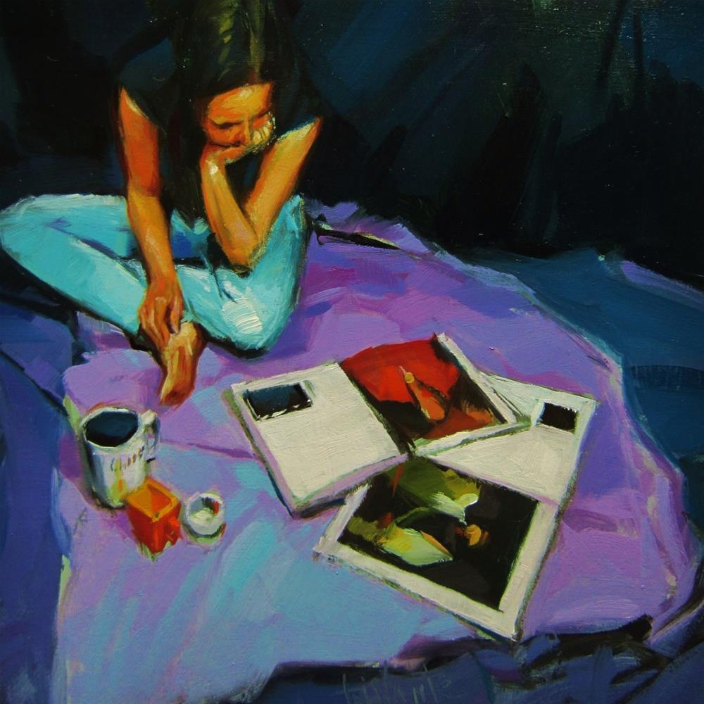 """Painting books"" original fine art by Víctor Tristante"