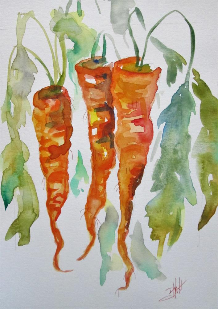 """Three Carrots"" original fine art by Delilah Smith"