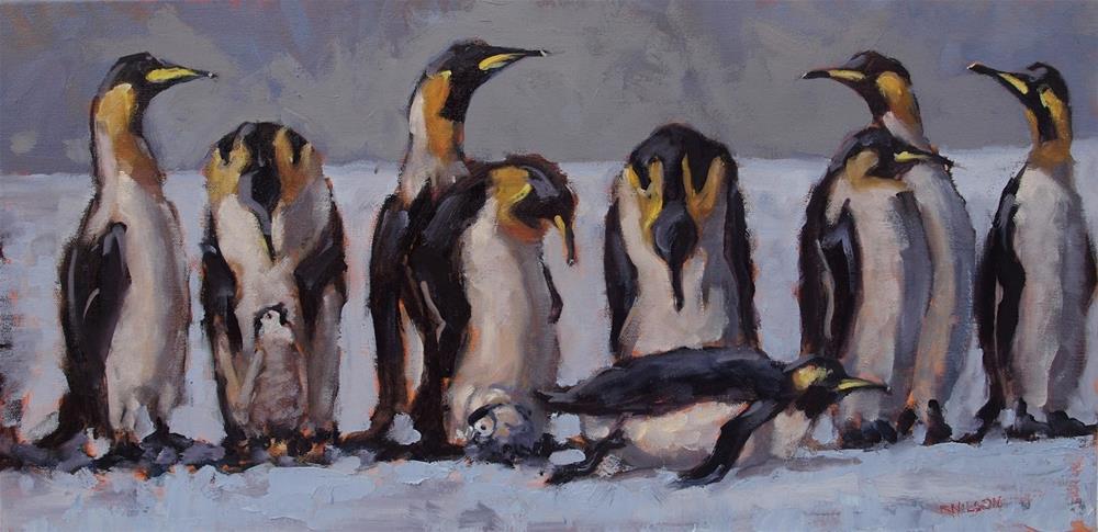 """Socially Unaware. The herring queue"" original fine art by Rick Nilson"