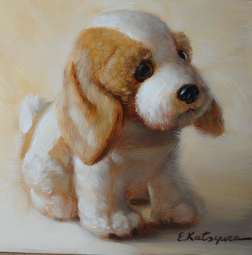 """""""Toy Puppy"""" original fine art by Elena Katsyura"""