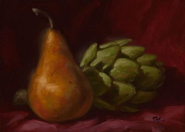 """Bosc and Artichoke"" original fine art by David Capalungan"
