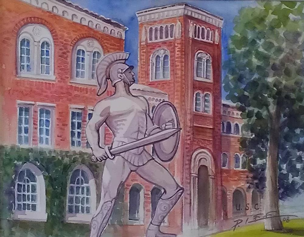 """""""Tommy Trojan"""" original fine art by Peter Lee"""