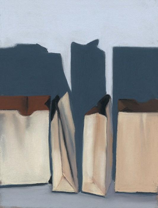 """Paper Bags still life"" original fine art by Ria Hills"
