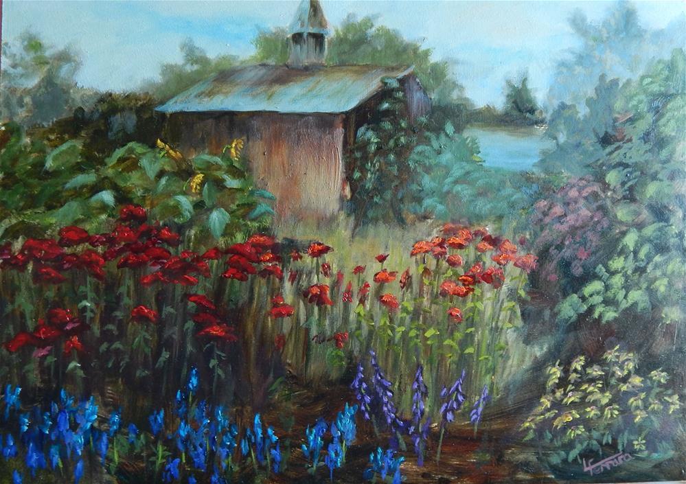 """""""In a Field of Flowers"""" original fine art by Lina Ferrara"""