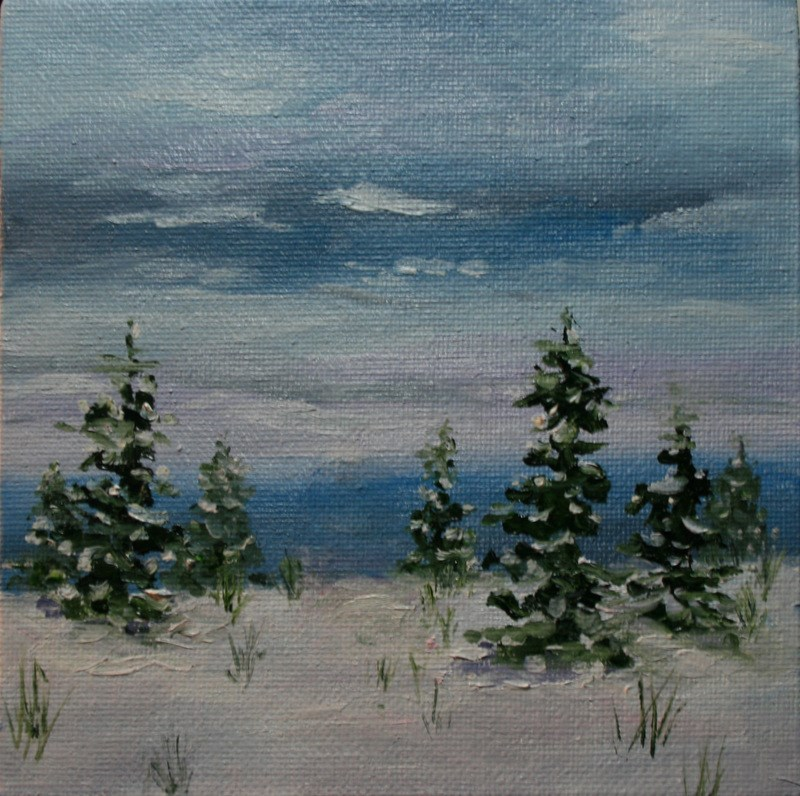 """""""Snow at the Seacoast"""" original fine art by Jean Nelson"""