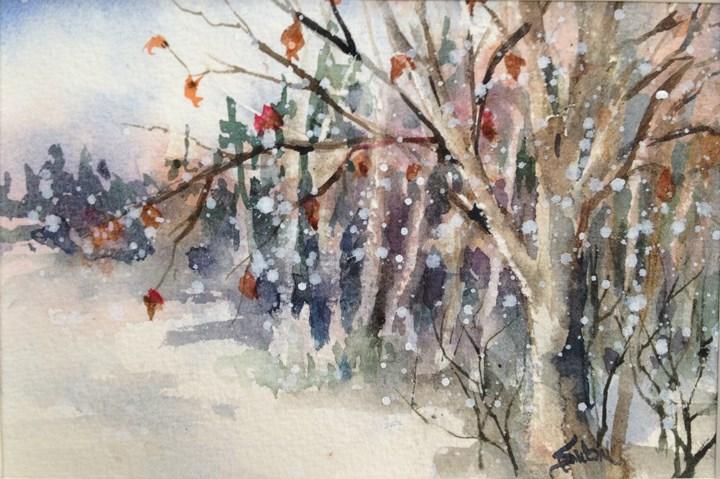 """Winter Scene 3"" original fine art by Sue Dion"