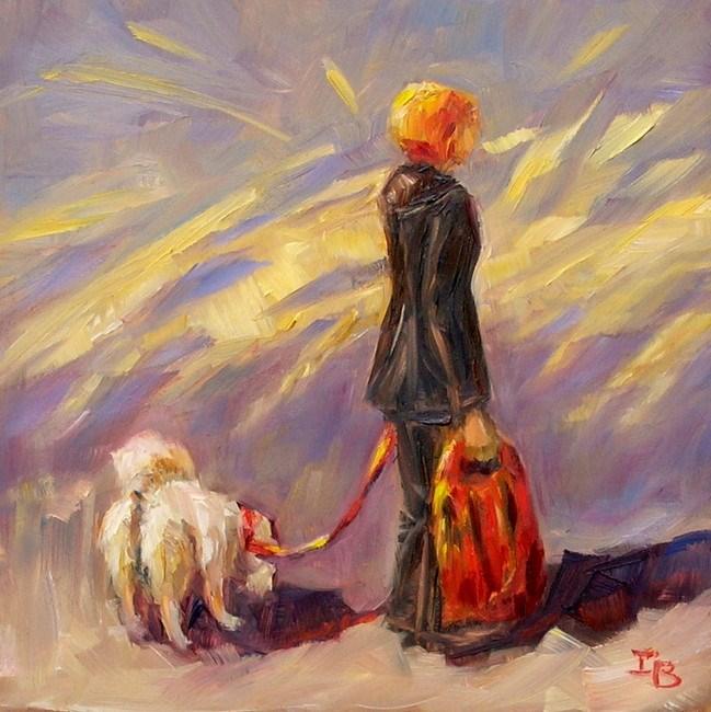 """The Lady with the Dog"" original fine art by Irina Beskina"