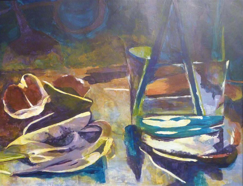 """""""Boats and Petals"""" original fine art by Cathy Dykstra"""