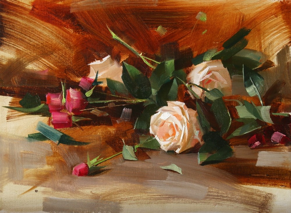 """White and Pink Roses"" original fine art by Qiang Huang"