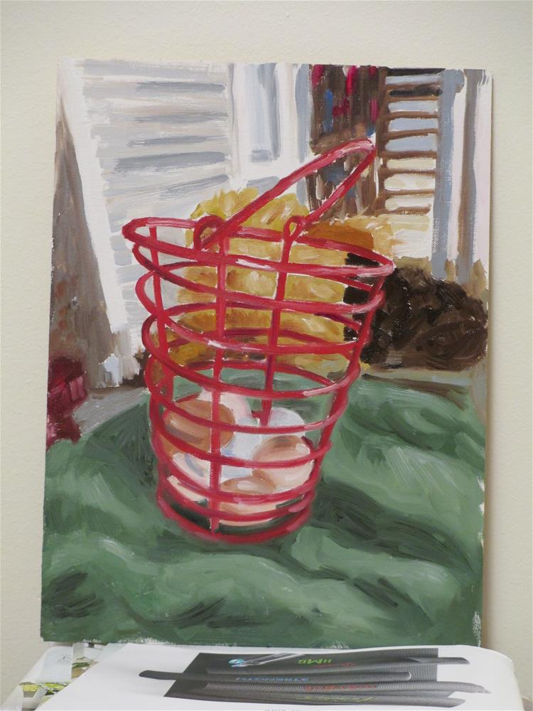 """""""All Your Eggs in One Basket"""" original fine art by Judy Elias"""