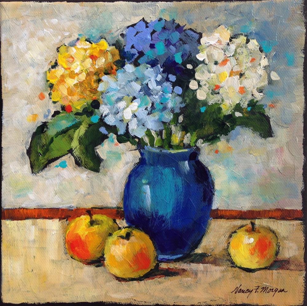 """Hydrangeas With Fruit"" original fine art by Nancy F. Morgan"