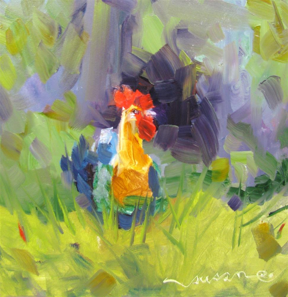 """""""A Coq and a Smile"""" original fine art by Susan Elizabeth Jones"""