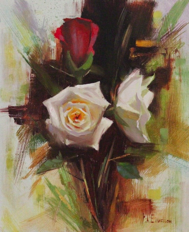 """""""Red and White roses"""" original fine art by Thorgrimur Andri Einarsson"""