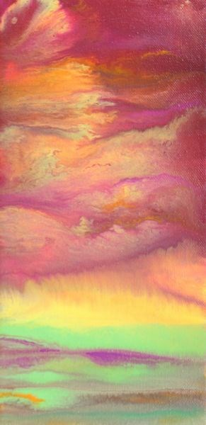 """""""Abstract Landscape,Sunset Art Painting Sky In Motion - Pink by Colorado Contemporary Artist Kimber"""" original fine art by Kimberly Conrad"""