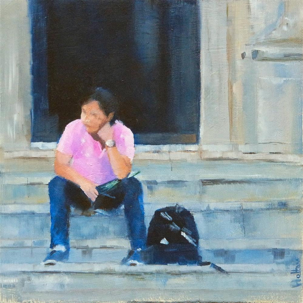 """On the church steps"" original fine art by Cathy Holtom"