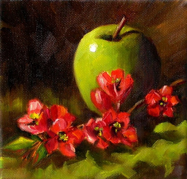 """Flowering Quince"" original fine art by Irina Beskina"