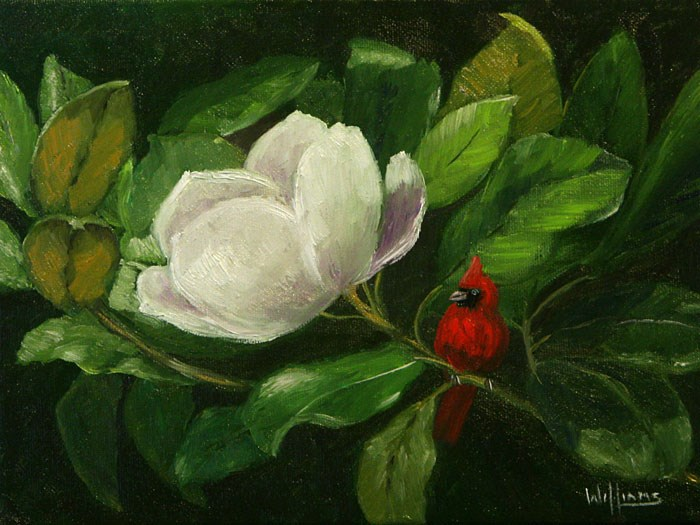 """Magnolia with Cardinal"" original fine art by Sunny Williams"