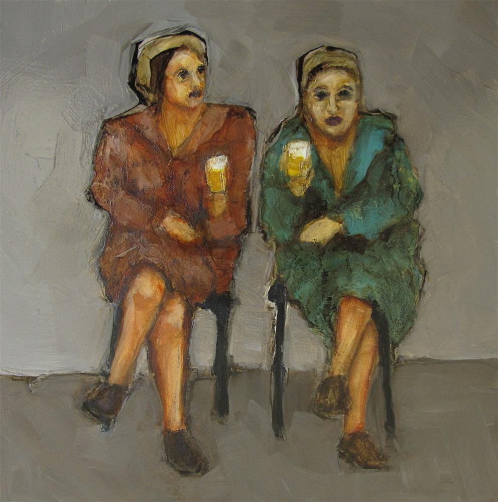 """""""COCKTAIL DRESSES Original ABSTRACT FIGURE Art Painting OIL"""" original fine art by Colette Davis"""