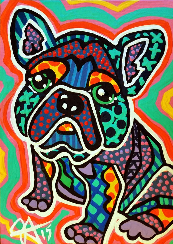 """Eddy Eddie Boston Terrier Boxer French Bulldog Bull Terrier Pug Dog Puppy Design Fun Colorful"" original fine art by Jackie Carpenter"