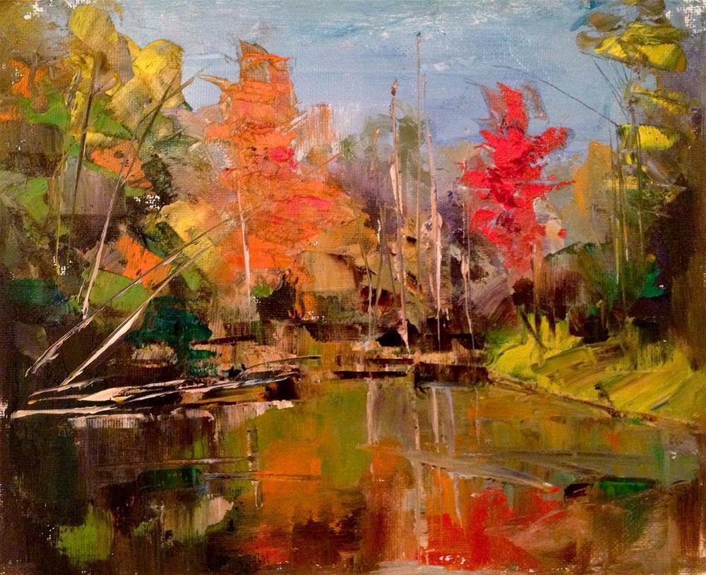 """Autumn on the Lake, 10x8"" original fine art by Ann Feldman"