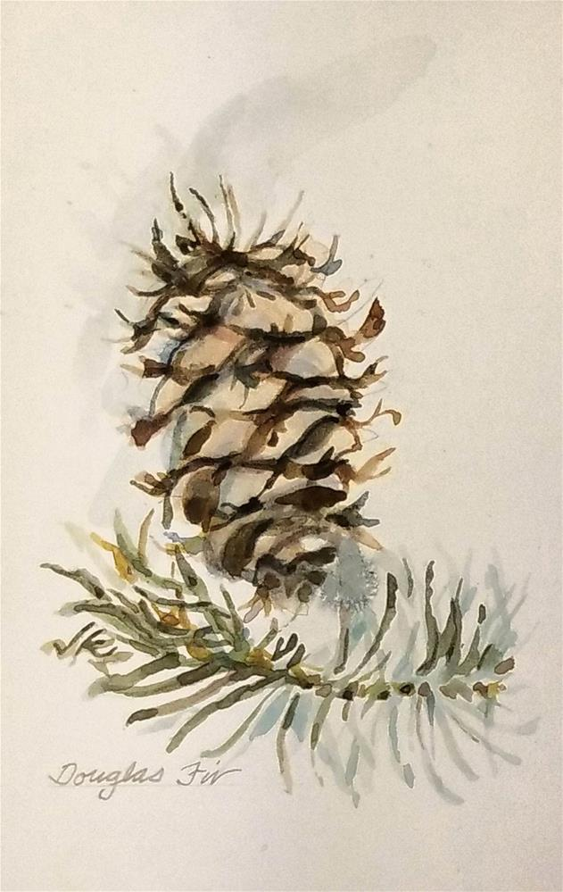 """Douglas Fir Cone"" original fine art by Jean Krueger"