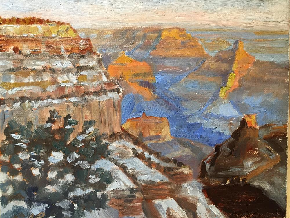 """Grand Canyon in the snow"" original fine art by Natasha Ramras"